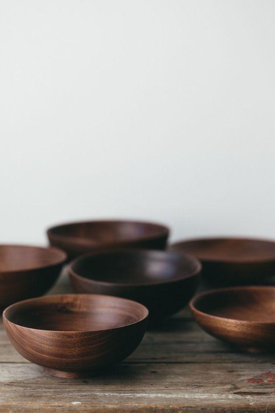 walnoot houten kommen