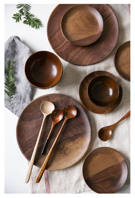 walnoot houten servies