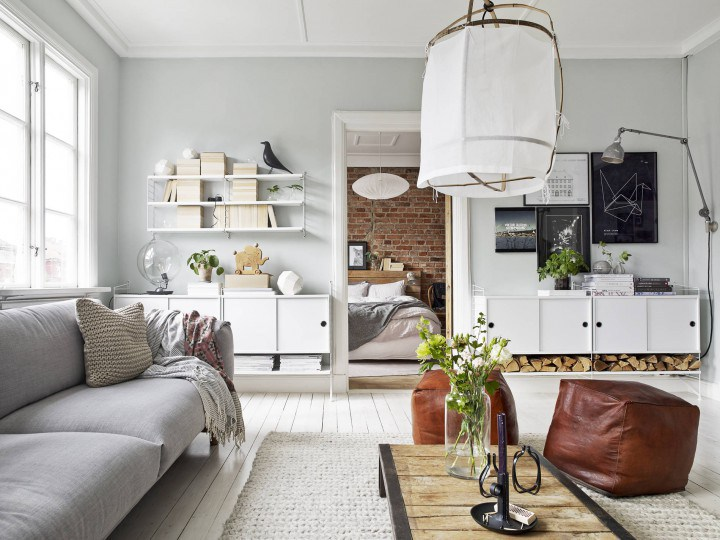 Warme Scandinavische woonkamer