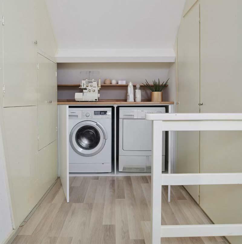 wasmachine kast onder schuine wand