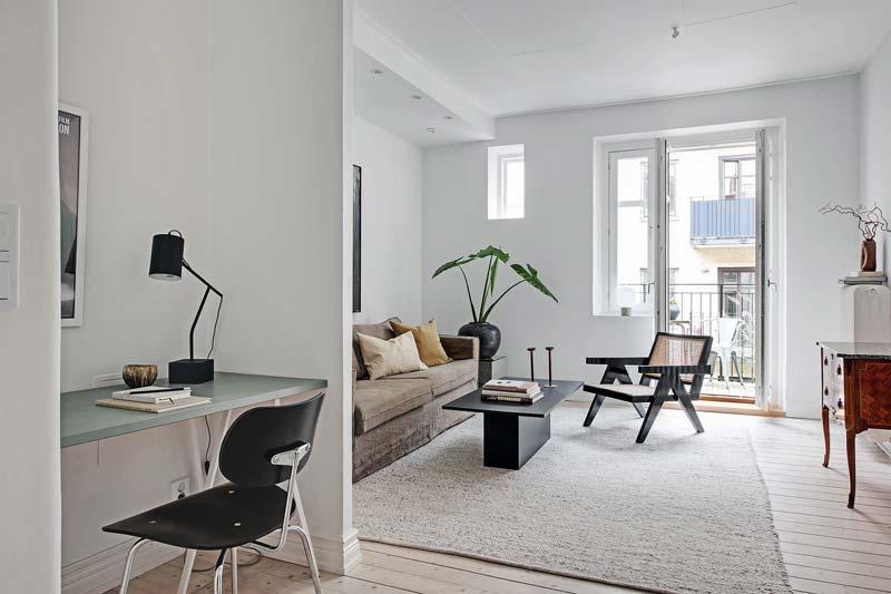 werkplek in woonkamer Scandinavisch interieur