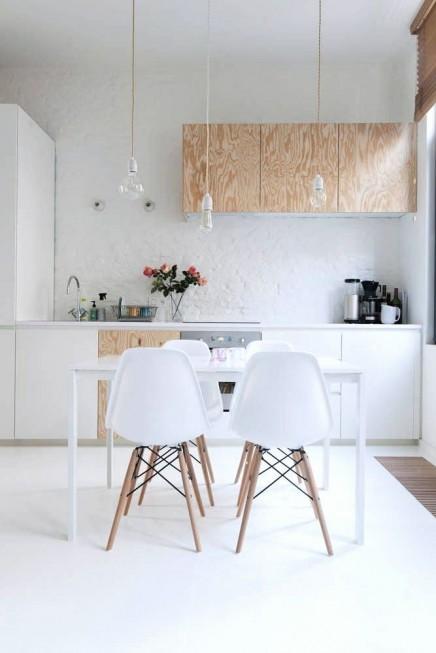 wit en hout in de keuken