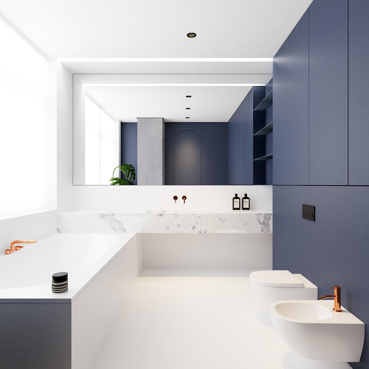 Architect Emil Dervish heeft gekozen voor een minimalistische witte gietvloer in deze moderne badkamer, gecombineerd met een marmeren wastafel en strakke blauwe kasten.