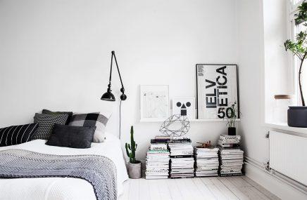 Witte Scandinavische slaapkamer