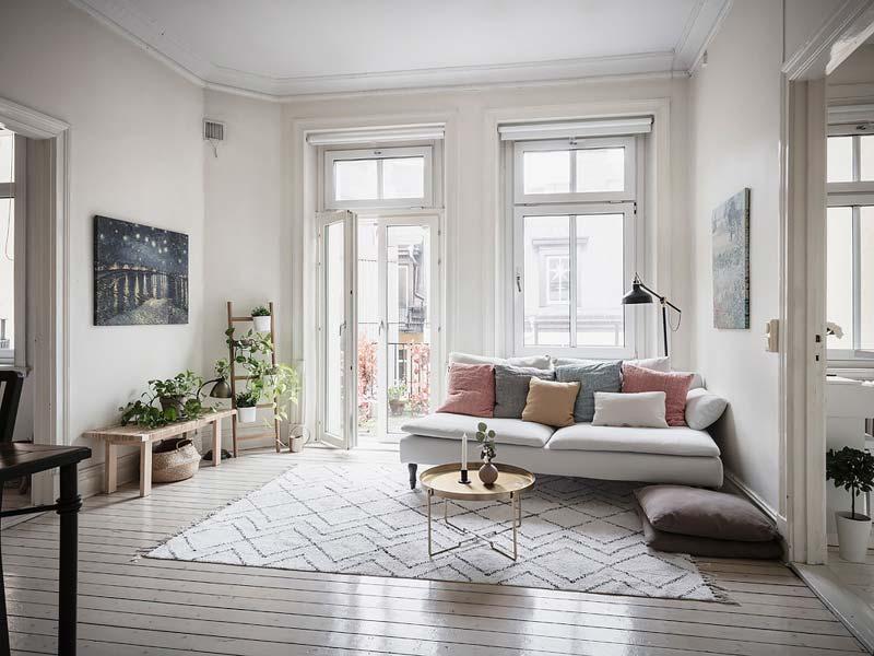 witte scandinavische woonkamer