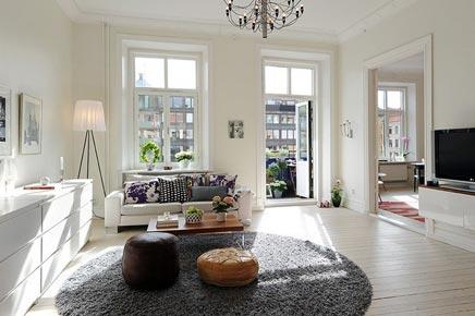 Witte woonkamer met rond vloerkleed inrichting - Mooi huis deco interieur ...