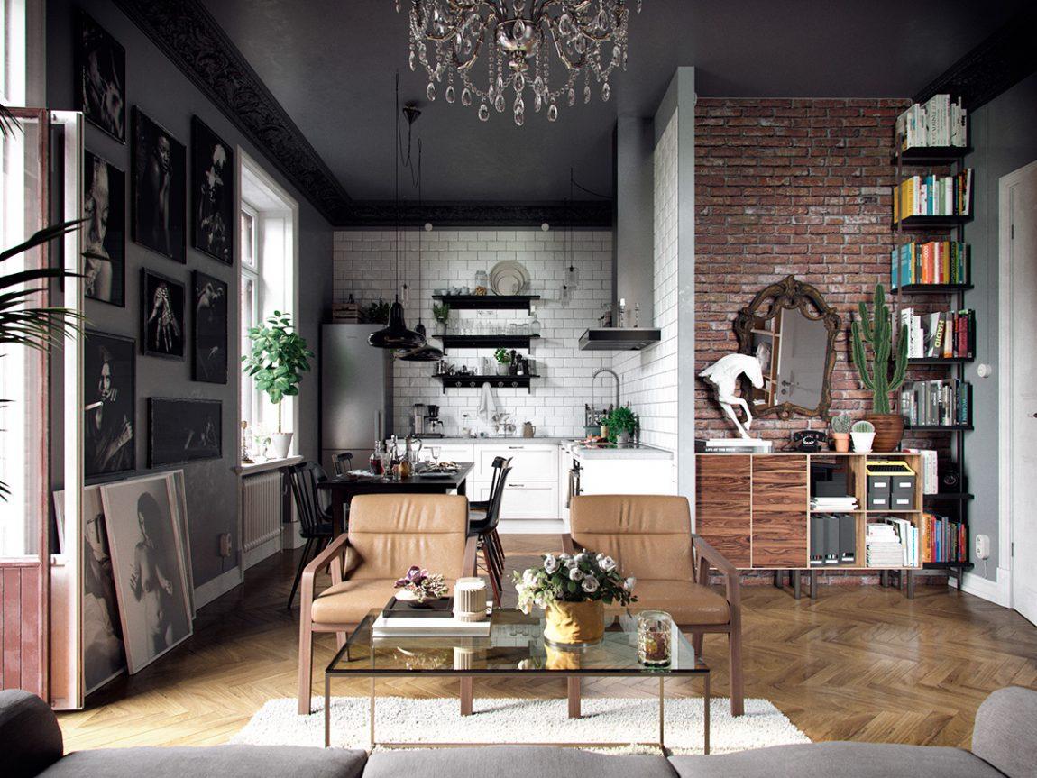 woonkamer-eclectisch-interieur-en-zwart-plafond