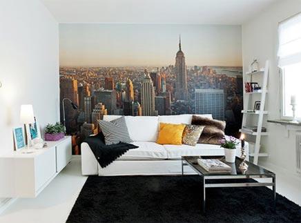 Wohnzimmer mit Fototapete von New York