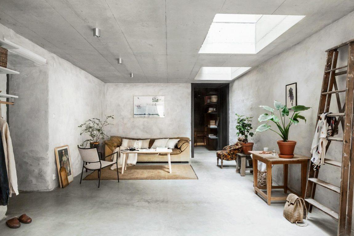 woonkamer ideeën betonlook muren