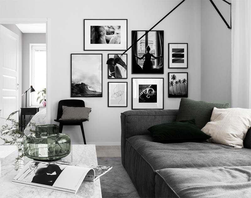 woonkamer ideeën fotowand zwart wit