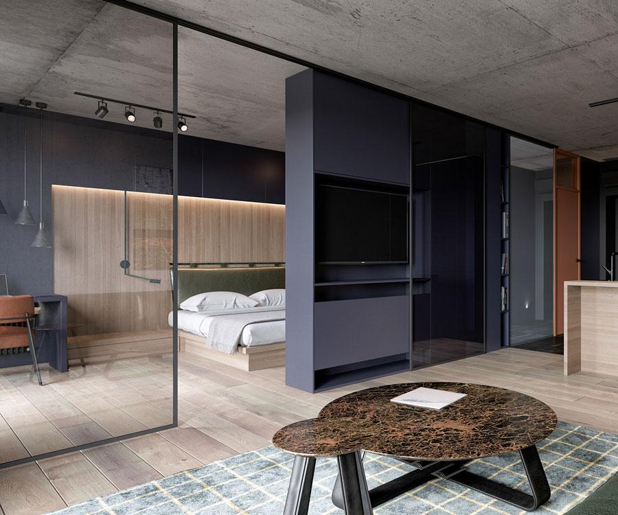 woonkamer ideeën glazen wand tussen woonkamer slaapkamer