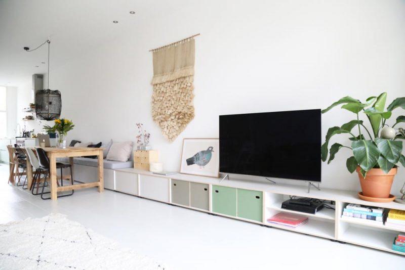 woonkamer ideeën tv meubel eettafel bank combineren