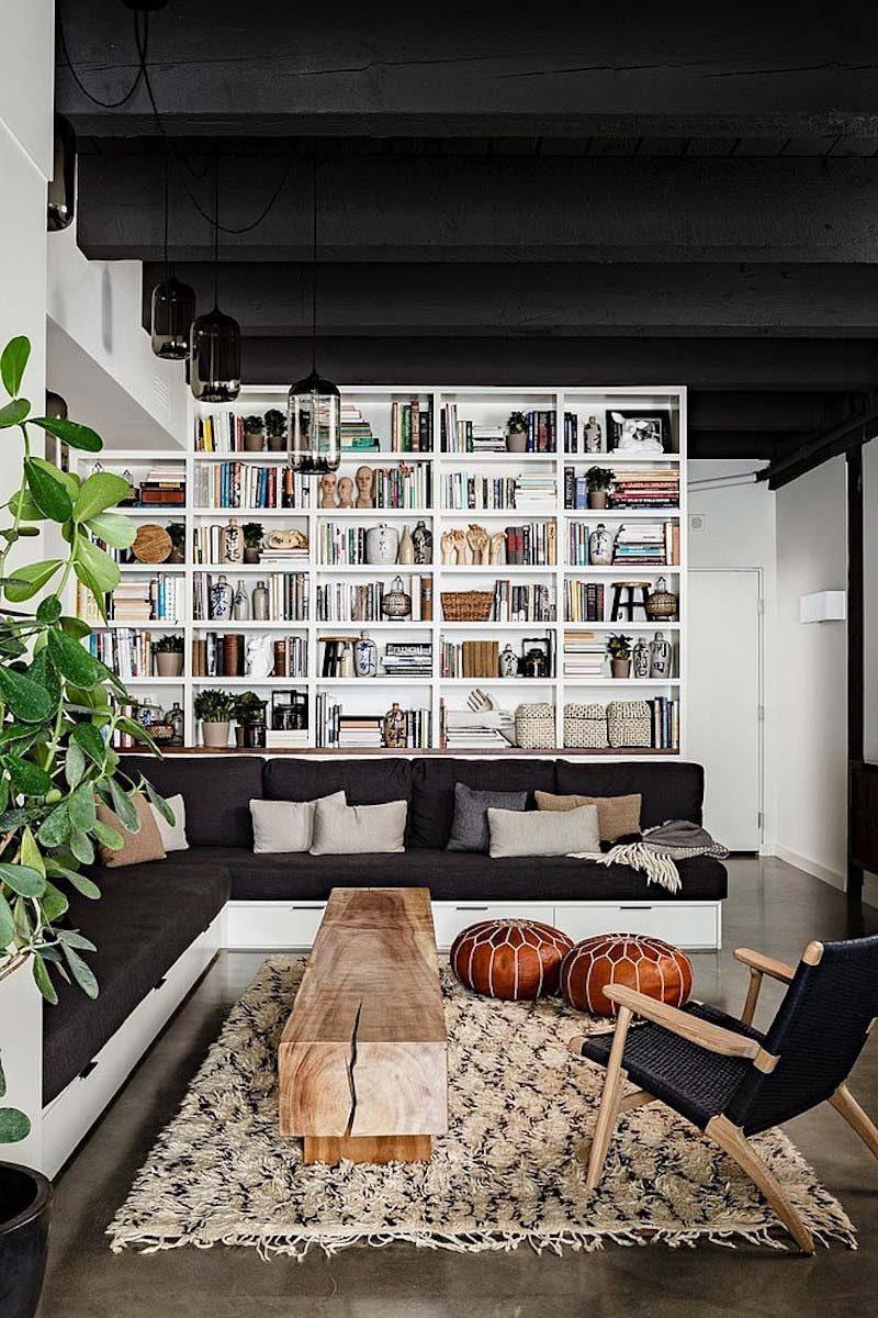 woonkamer ideeën zwart plafond