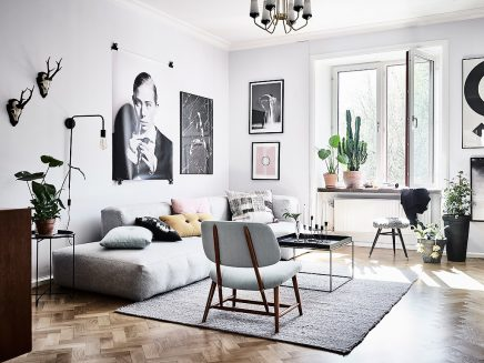 woonkamer met een mix van scandinavische en vintage meubels inrichting. Black Bedroom Furniture Sets. Home Design Ideas