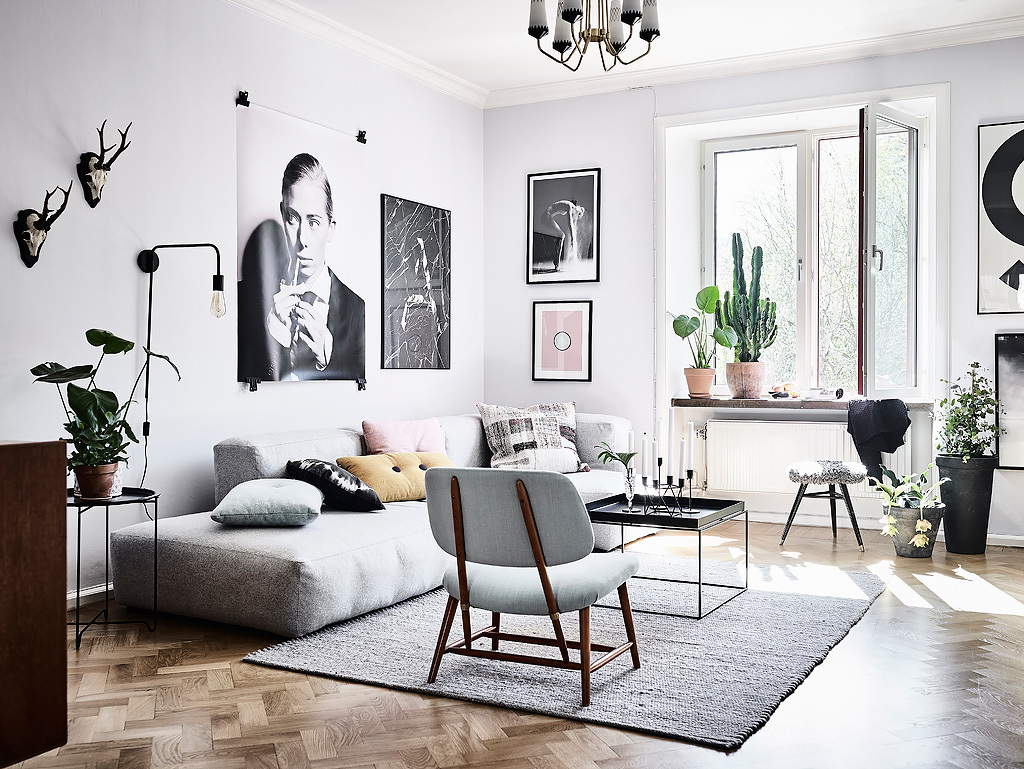 Woonkamer met een mix van scandinavische en vintage for Interior design inspiration industrial