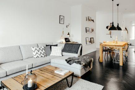 Woonkamer met stoere Scandinavische inrichting | Inrichting-huis.com