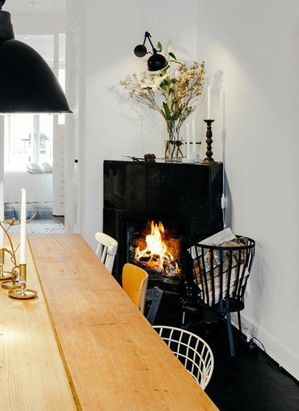 Woonkamer met stoere scandinavische inrichting for Eettafel scandinavisch