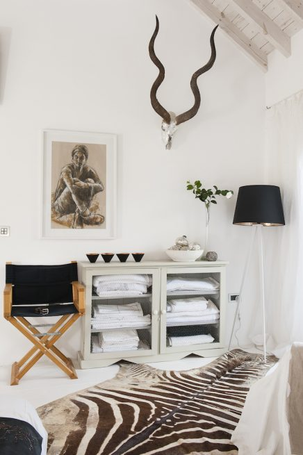 zebra vloerkleed in slaapkamer