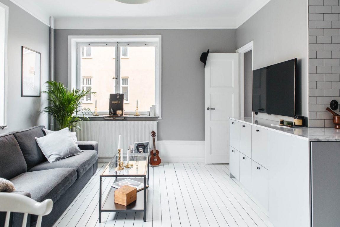 Keuken tv meubel combinatie in een kleine l vormige woonkamer ...