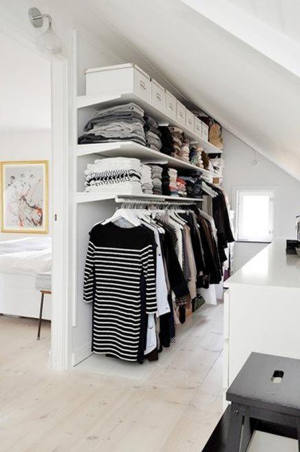 zolder slaapkamer open inloopkast