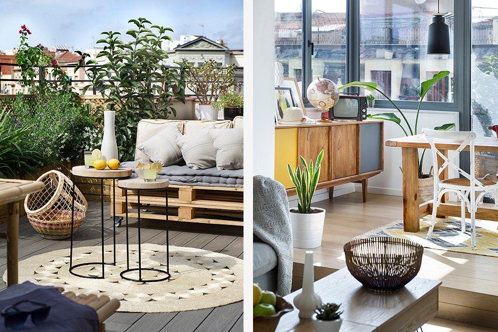 Zonnig dakterras met stoere meubels en accessoires