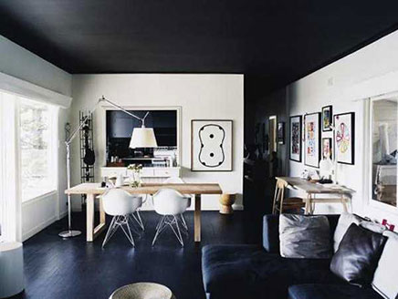 Zwart plafond inrichting huis