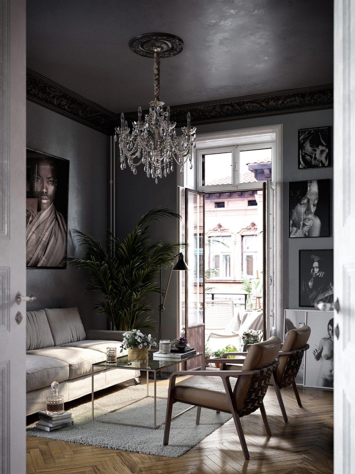Woonkamer met een eclectisch interieur en een zwart plafond inrichting - Plafond geverfd zwart ...