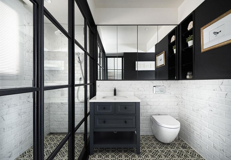 zwart wit badkamer vintage klassiek