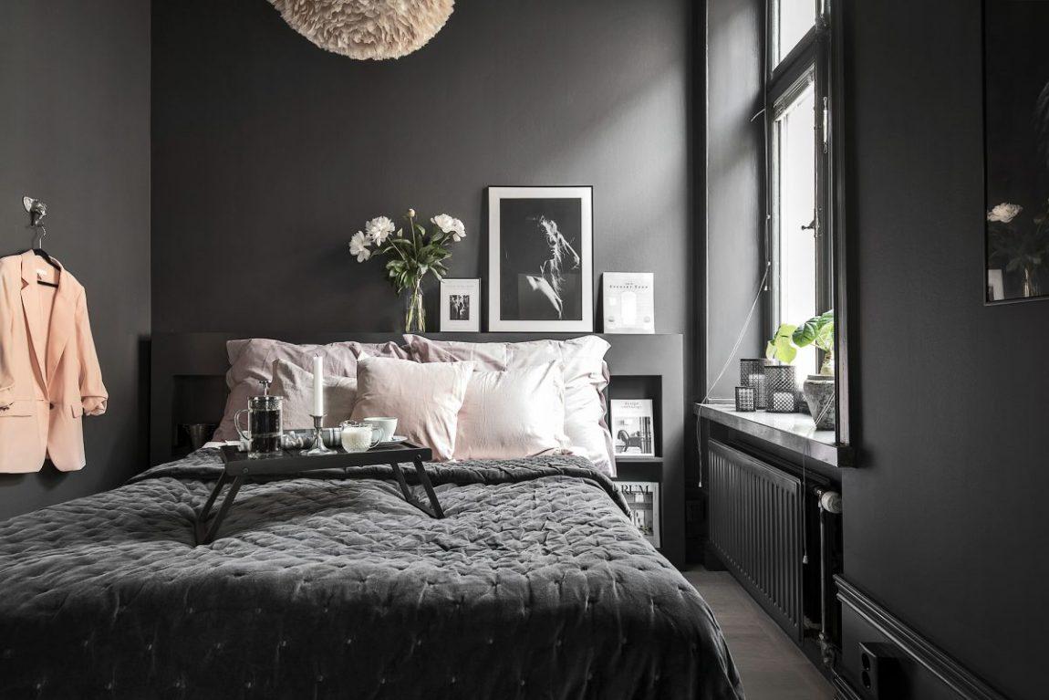 zwarte muren kleine slaapkamer