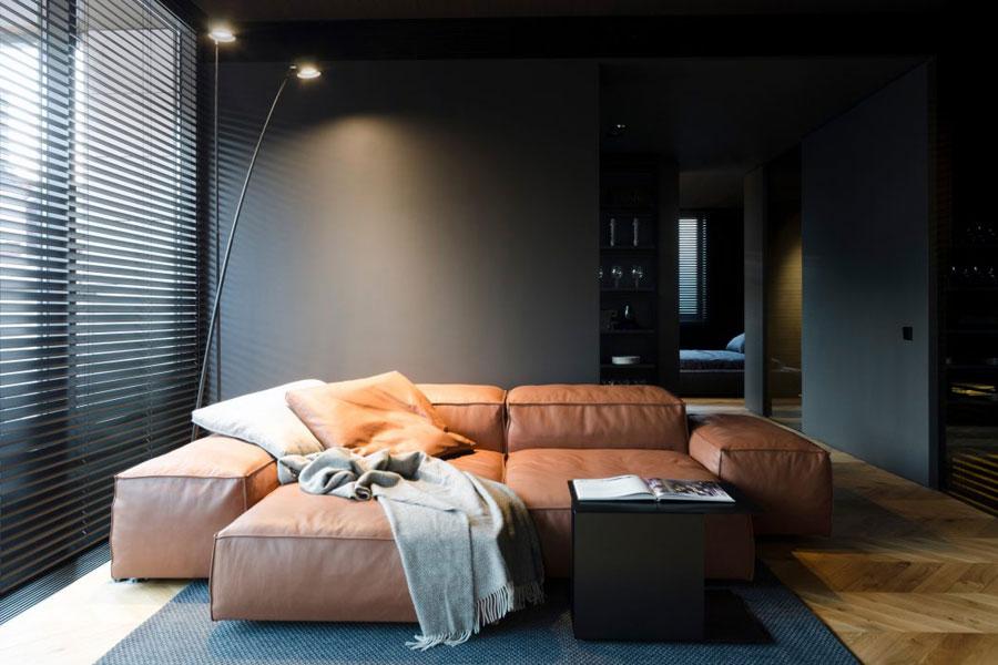 zwarte muren modern luxe appartement