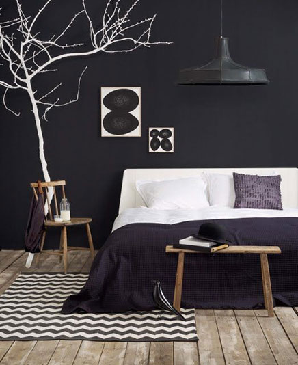 Zwarte muren inrichting - Deco woonkamer aan de muur wit ...