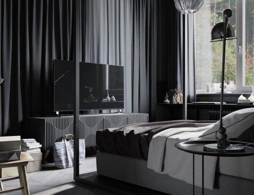 Zwarte slaapkamer voor de man