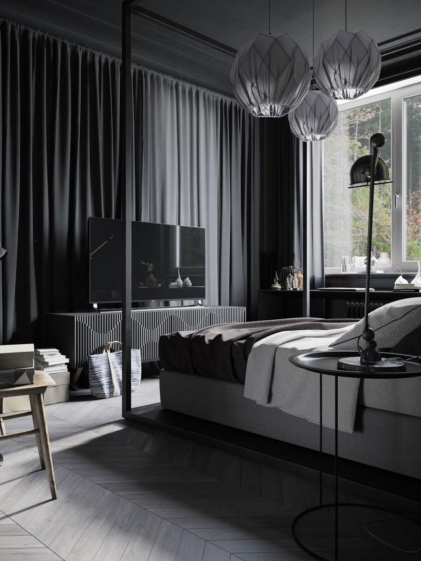 Zwarte slaapkamer voor de man  Inrichting-huis.com