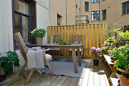 Zweedse terras balkon