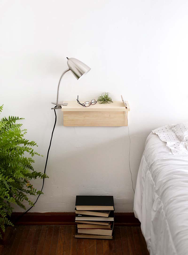 zwevende nachtkastjes diy houten plank nachtkastjes telefoonhouder